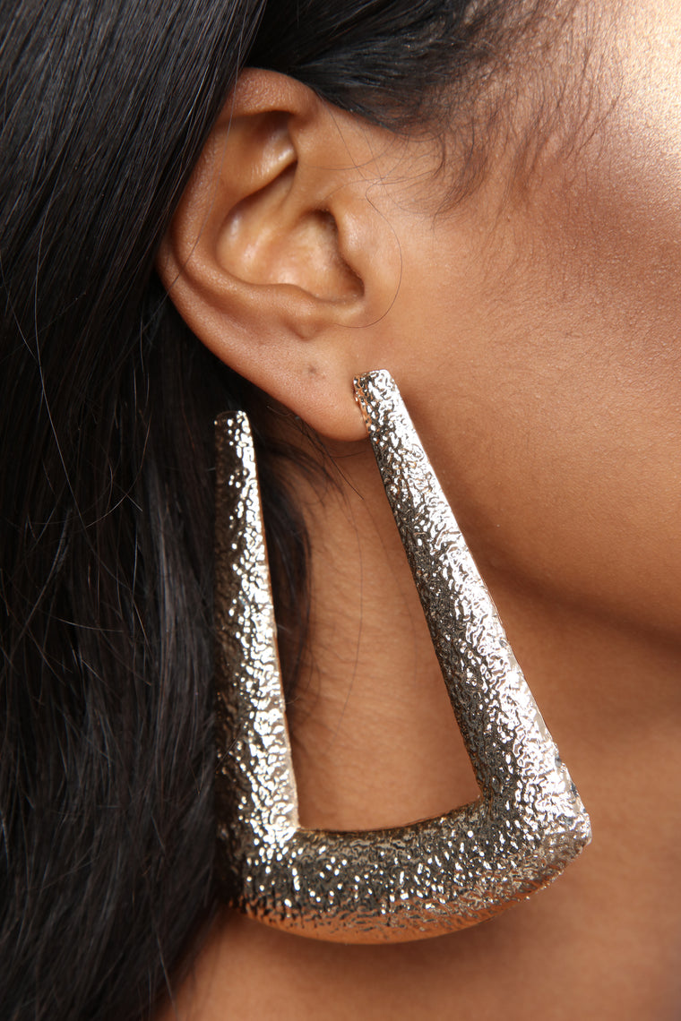 Textured Boo Back Earrings - Gold