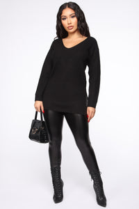 Georgina Caged Back Sweater - Black Angle 2