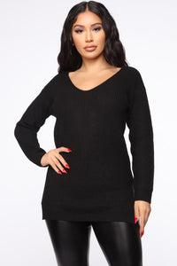 Georgina Caged Back Sweater - Black Angle 3