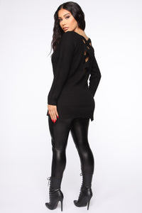 Georgina Caged Back Sweater - Black Angle 5