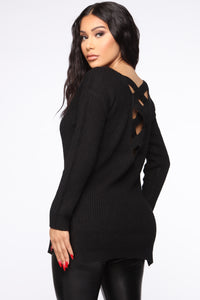 Georgina Caged Back Sweater - Black Angle 1