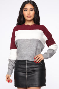 Tell Me More Sweater - Burgundy/combo
