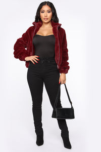 Don't Brush Me Aside Faux Fur Jacket - Burgundy