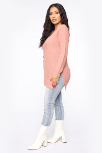 Georgina Caged Back Sweater - Mauve Angle 4