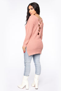 Georgina Caged Back Sweater - Mauve Angle 5