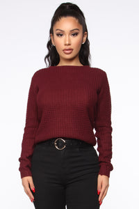 Soulmate Caged Back Sweater - Burgundy Angle 1