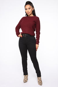 Soulmate Caged Back Sweater - Burgundy Angle 2