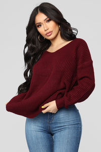 Falls Favorite Girl Sweater II - Burgundy