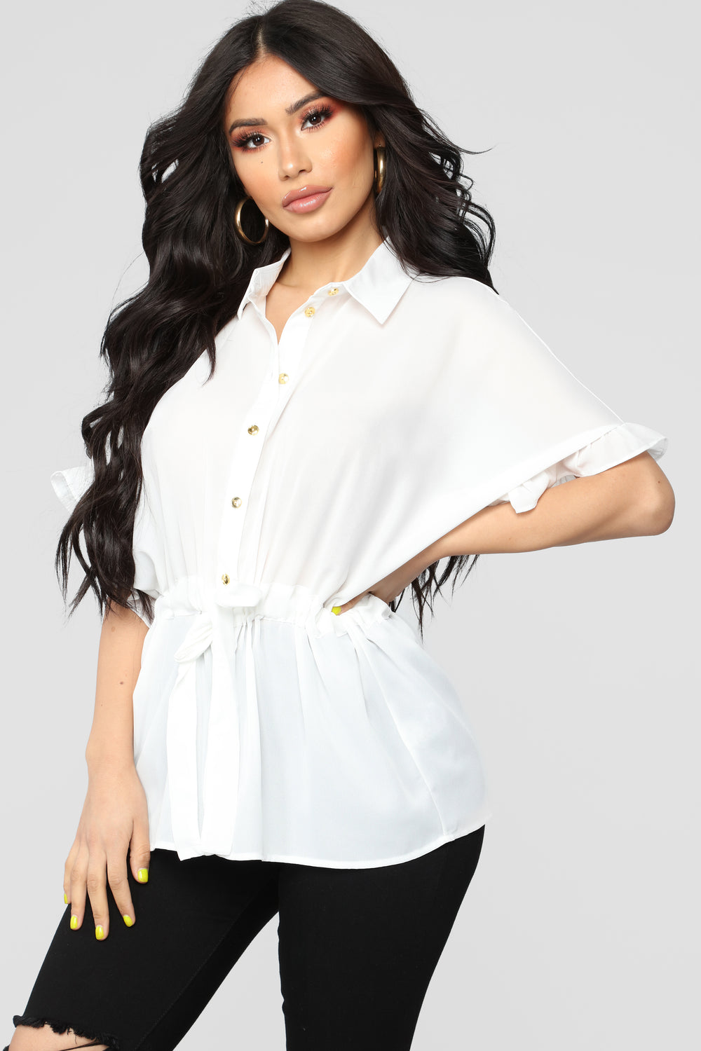 Ruffle Talk Button Down Shirt - Ivory