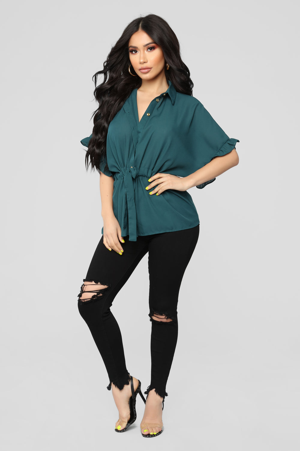 Ruffle Talk Button Down Shirt - Hunter
