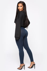 Smooth It Out High Rise Legging - Navy Angle 4