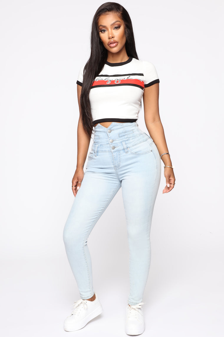 Through The Motion Skinny Jeans   Light Blue Wash by Fashion Nova