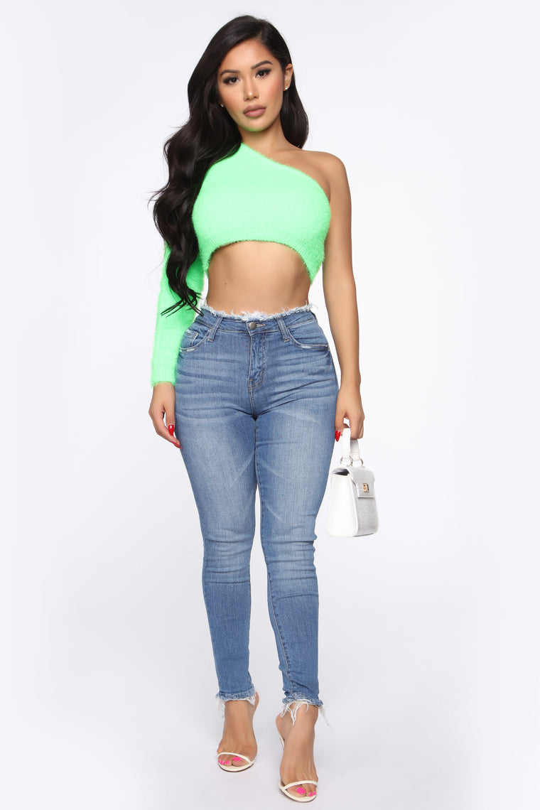 Fuzz What You Heard One Shoulder Sweater - Lime