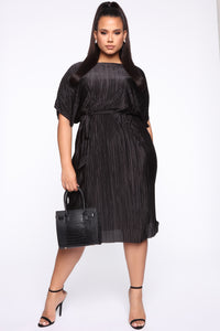 Phoebe Pleated Midi Dress - Black Angle 1