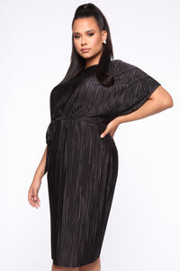 Phoebe Pleated Midi Dress - Black Angle 3