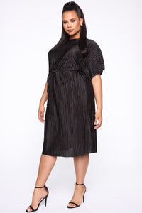Phoebe Pleated Midi Dress - Black Angle 2