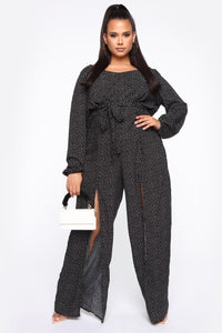 Shanel Wide Leg Jumpsuit - Black/White Angle 1