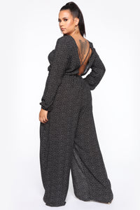 Shanel Wide Leg Jumpsuit - Black/White Angle 4