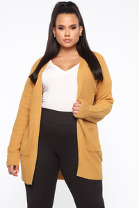 Zoe Two Pocket Cardigan - Mustard Angle 6