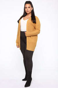 Zoe Two Pocket Cardigan - Mustard Angle 9