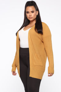 Zoe Two Pocket Cardigan - Mustard Angle 8