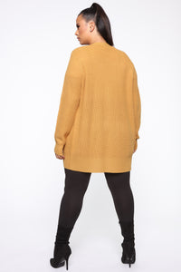 Zoe Two Pocket Cardigan - Mustard Angle 10