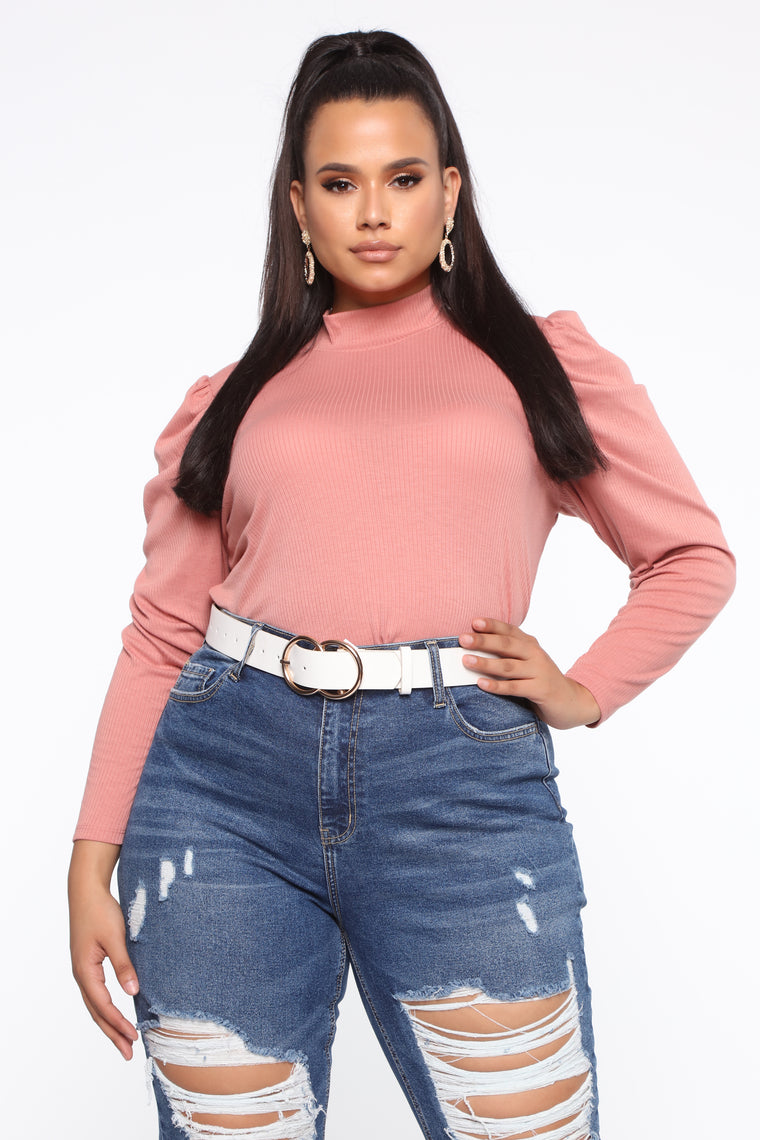 Take Your Time Long Sleeve Top - Mauve