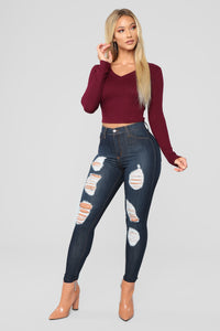 Up In The Air Skinny Jeans - Dark Denim