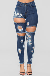 Treat Me Right High Rise Distressed Jeans - Dark Denim Angle 2