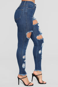 Treat Me Right High Rise Distressed Jeans - Dark Denim Angle 3