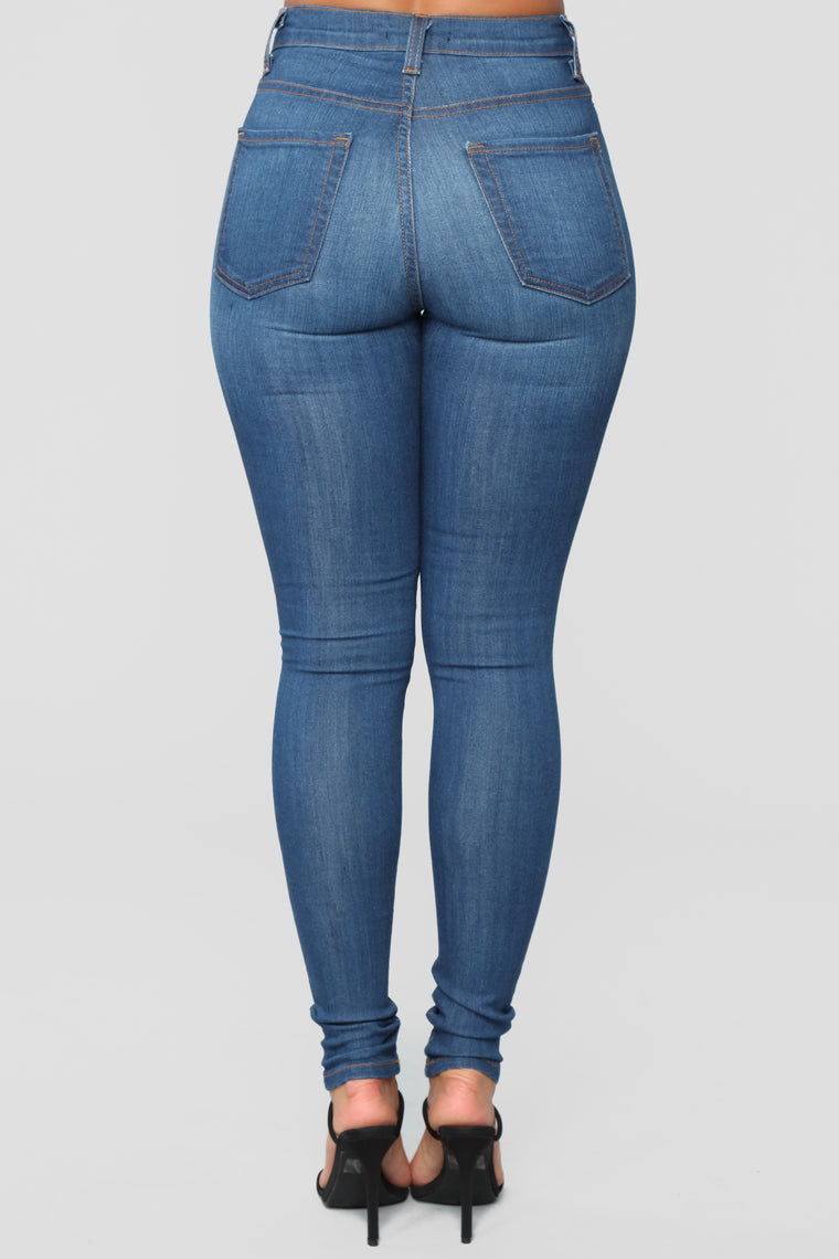 Up In The Air Skinny Jeans - Medium Blue Wash
