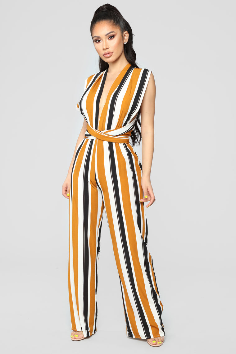Lucy Multi Stripe Jumpsuit - Camel/Black