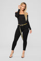 Dream Big Belted Ankle Jeans - Black