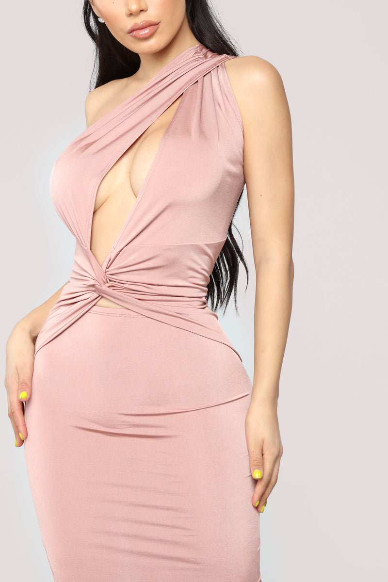 Knotty For You One Shoulder Dress - Blush