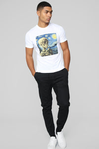 Starry Night Skull Short Sleeve Tee - White