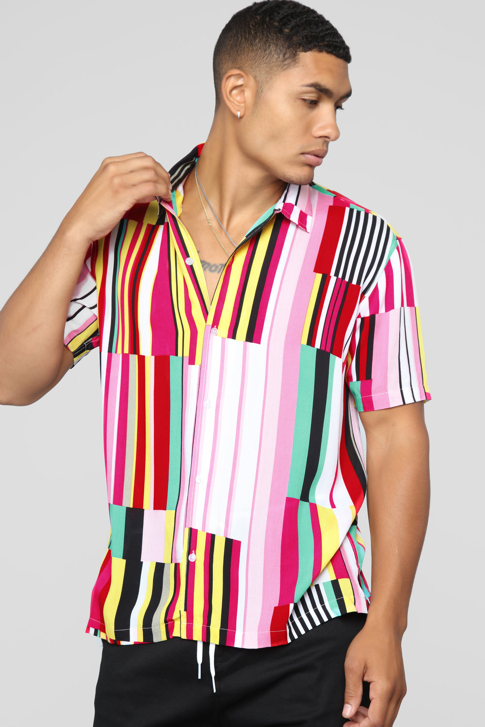 Striped Vision Short Sleeve Woven Top - Multi