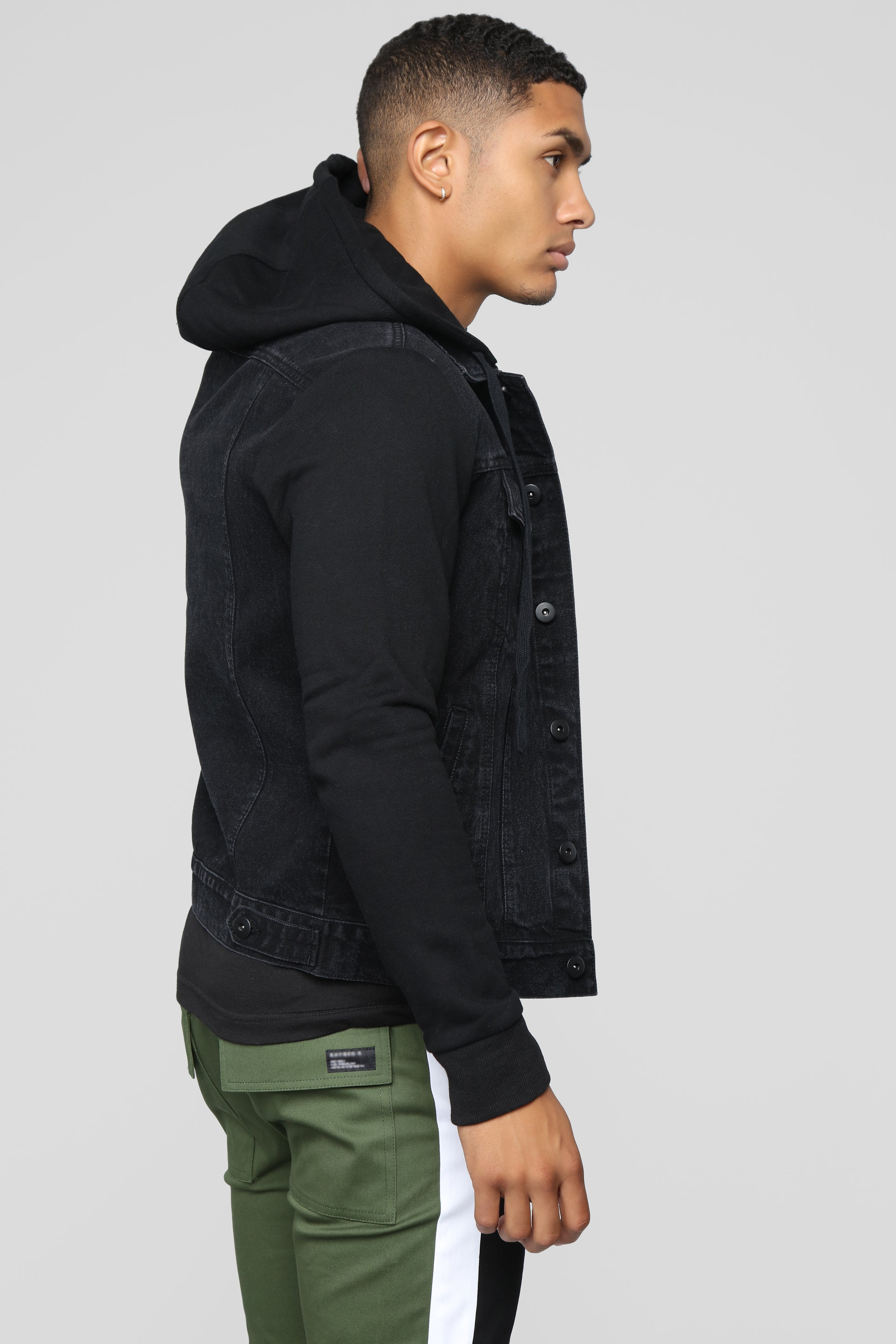 b637f8c4d6b0e Blaine Hooded Denim Jacket - Black