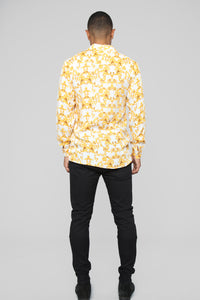 Gianni Long Sleeve Woven Top - White/Yellow