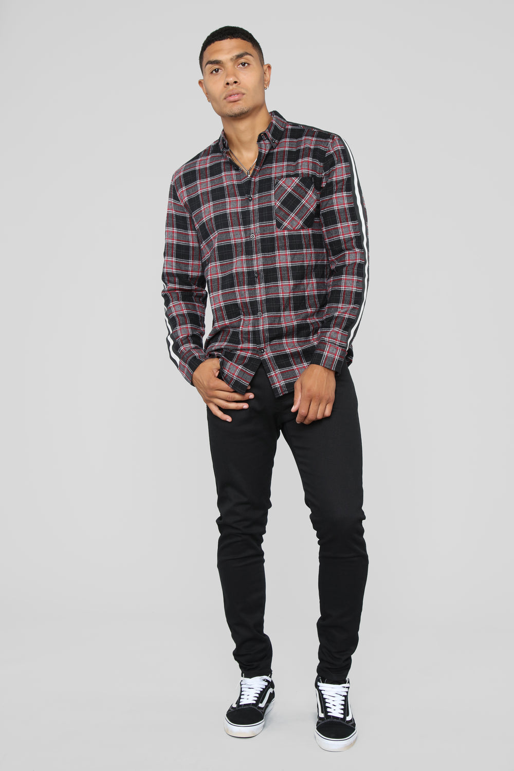 Russell Long Sleeve Flannel Top - Black/Red