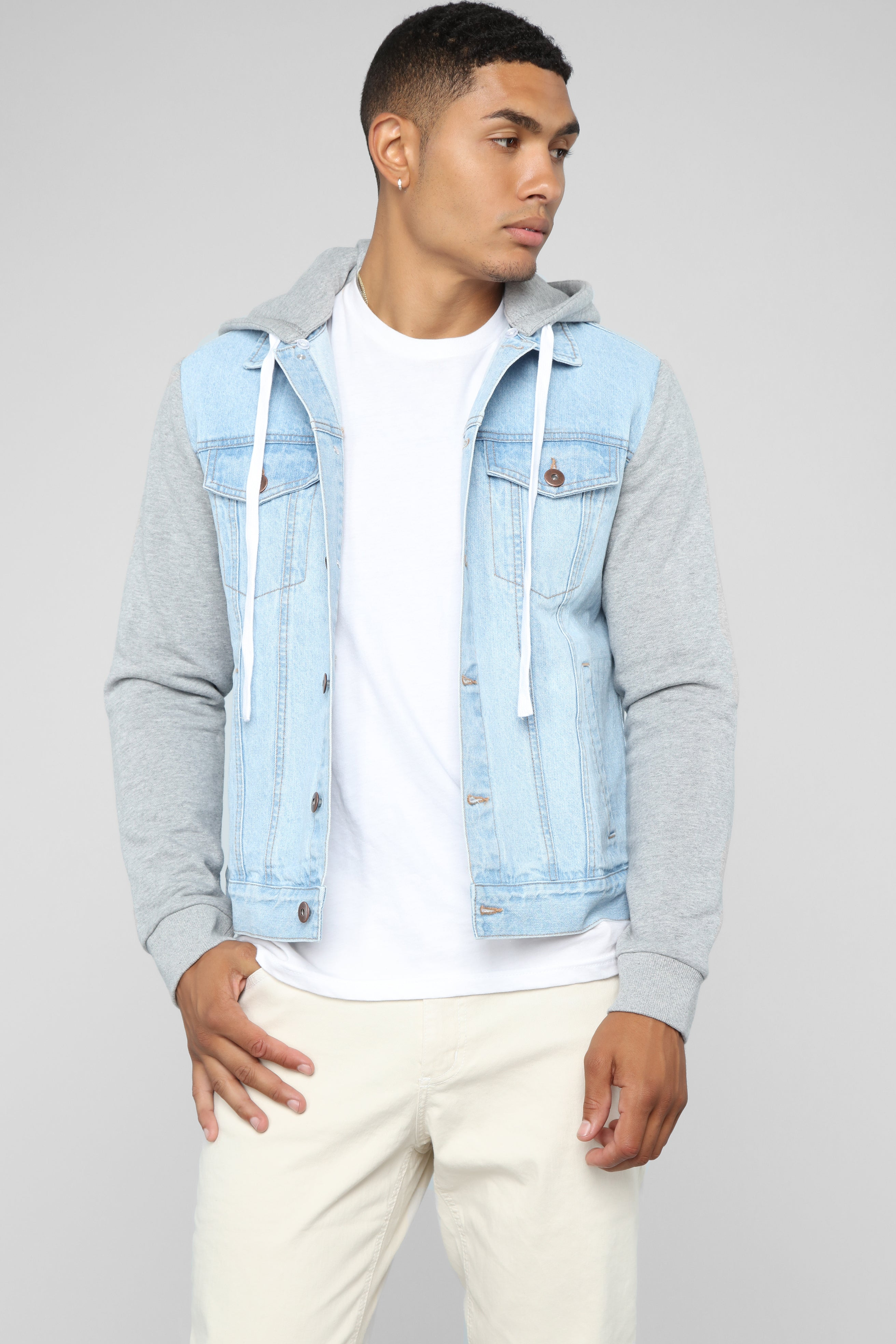 release info on select for official amazon Blaine Hooded Denim Jacket - Light Wash