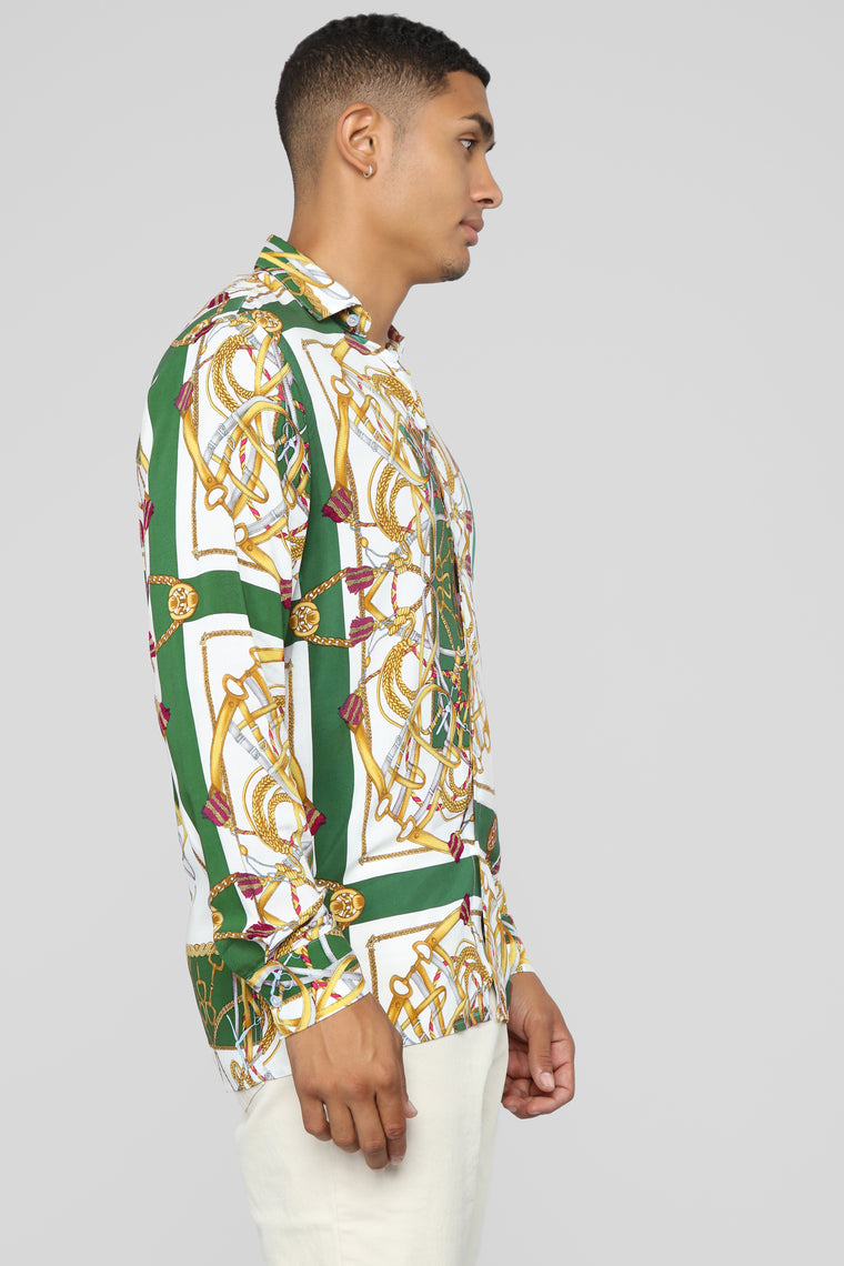 Premier Long Sleeve Woven Top - Green/combo