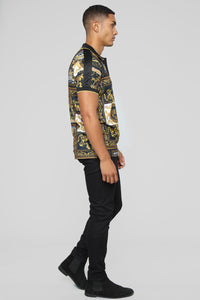 Rich Print Short Sleeve Polo - Black/Gold