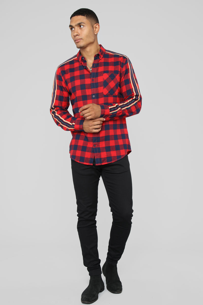 Manny Long Sleeve Flannel Top - Red/Navy