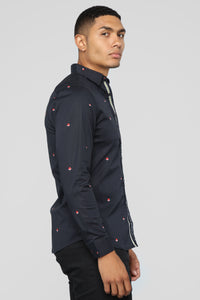 Falling Star Long Sleeve Woven Top - Black
