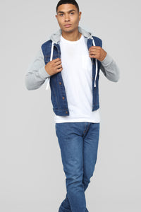 Blaine Hooded Denim Jacket - Medium Wash