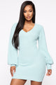 Can't Get Enough Sweater Mini Dress - Light Blue