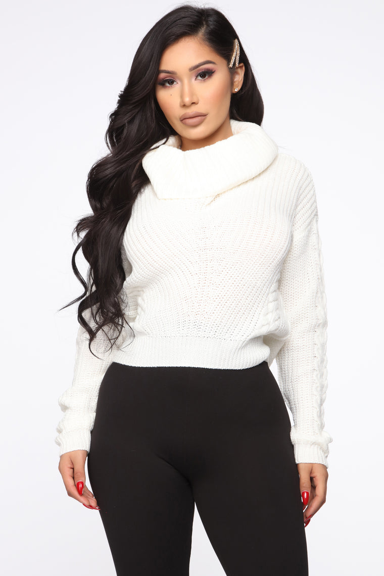 Keep On Guessin' Cowl Neck Sweater - Ivory