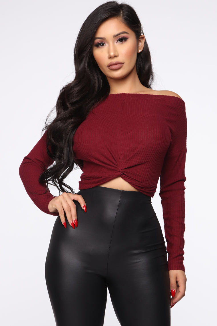 Knot Over You Sweater   Burgundy by Fashion Nova