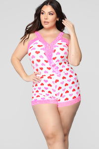 Lost In Love PJ Romper - Pink/Combo Angle 4
