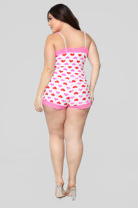 Lost In Love PJ Romper - Pink/Combo Angle 8
